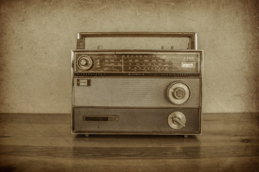 Vintage transistor radio, 1960s.
